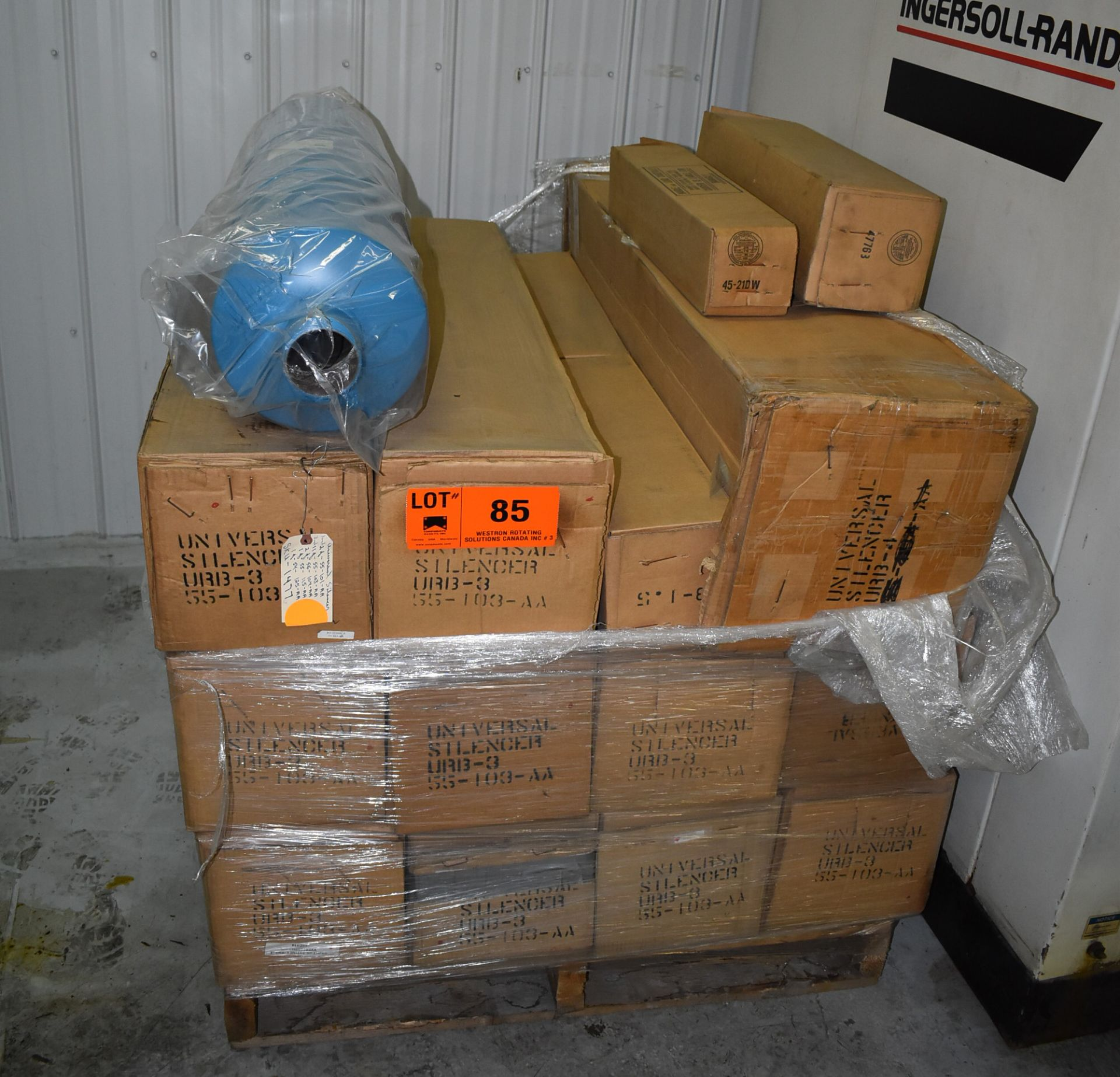 LOT/ SKID OF UNIVERSAL SILENCERS (APPROX. 12) (CI) [RIGGING FEE FOR LOT #85 - $25 CAD PLUS