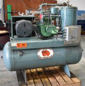 GARDNER DENVER (REBUILT 2019) BESDB TANK-MOUNTED ROTARY SCREW AIR COMPRESSOR WITH 15 HP, 125 PSI,