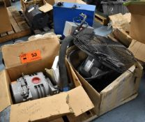 LOT/ SKID WITH BLOWER, ELECTRIC MOTORS, FANS & POWER BOXES