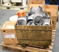 "LOT/ SKID WITH 6"" RUBBER ELBOWS, (4) 5 GAL. BUCKETS OF COMPRESSOR OIL & (1) BOX OF DESICCANT"