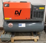 DV SYSTEMS (2020) B7.5 TANK-MOUNTED ROTARY SCREW AIR COMPRESSOR WITH 7.5 HP, 145 MAX. PSI, 27