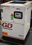 GARDNER DENVER APEX5-15A ROTARY SCREW AIR COMPRESSOR WITH 15 HP, 123 PSI, S/N: D119780 (CI) [RIGGING
