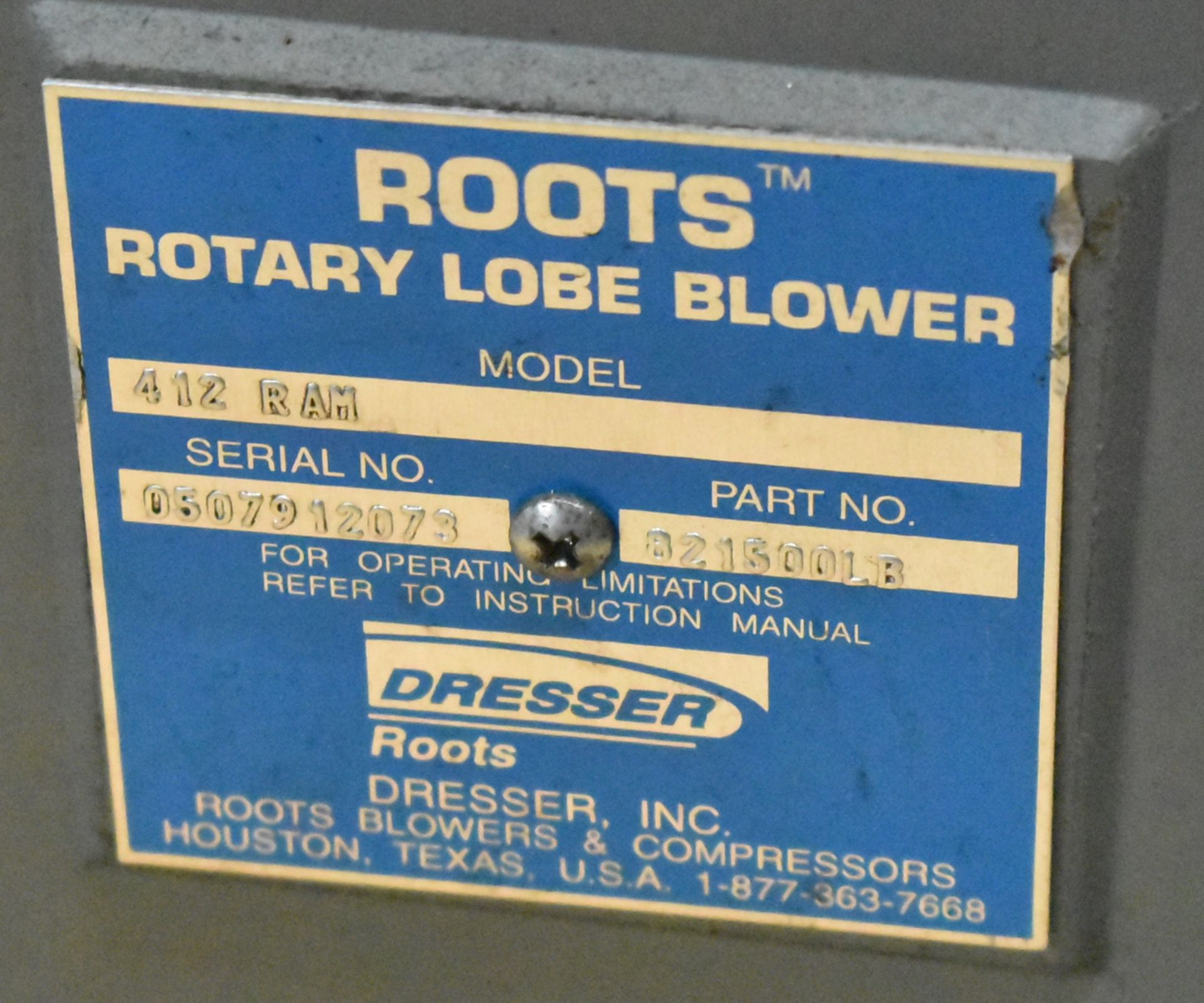 "ROOTS MODEL 412 RAM BLOWER WITH 1.5"" OUTPUT SHAFT, S/N: 0507912073 (CI) [RIGGING FEES FOR LOT # - Image 3 of 3"