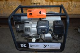"""BE 3"""" GAS POWERED TRASH PUMP WITH 3"""" NPT INLET/OUTLET PORTS, 264GPM MAX. FLOW RATE, 85' MAX."""