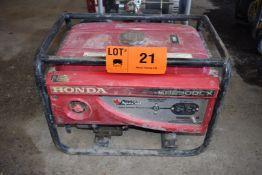 HONDA EP2500CX 2,500W GAS POWERED GENERATOR WITH 120V/1PH/60HZ, S/N: N/A