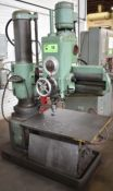 """MFG. UNKNOWN 3' RADIAL ARM DRILL WITH SPEEDS TO 2100 RPM, 45"""" COLUMN, 21""""X16.5""""X16""""H T-SLOT BOX"""
