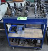 LOT/ MILL TOOLING, SPRING COLLETS, R8 COLLETS AND CART
