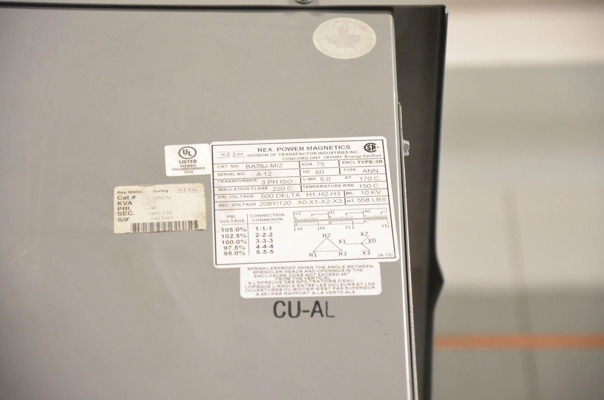 REX 112.5KVA/600-208-120V/3PH/60HZ TRANSFORMER (CI) [RIGGING FEES FOR LOT #220 - $50 USD PLUS - Image 2 of 2