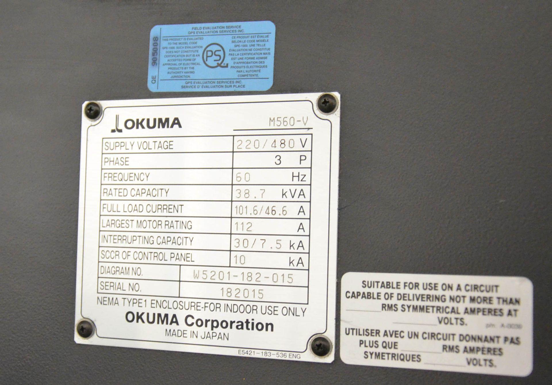"""OKUMA (DEC-2014) GENOS M560-V CNC VERTICAL MACHINING CENTER WITH OKUMA OSP-P300M CNC CONTROL, 22"""" - Image 11 of 12"""