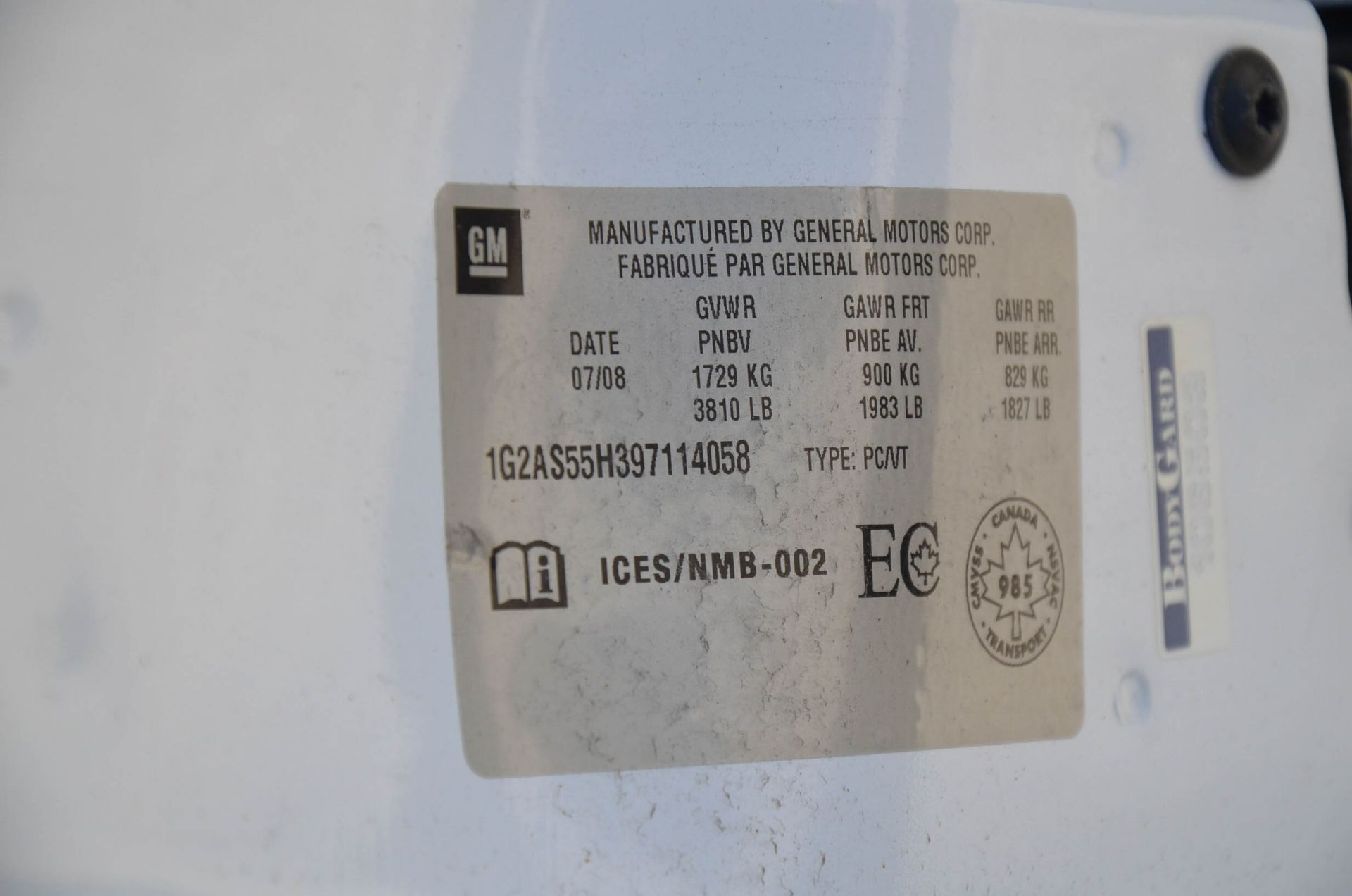 PONTIAC (2008) G5 4-DOOR SEDAN, AUTO, APPROX. 192,000 KM (RECORDED ON METER AT THE TIME OF LISTING), - Image 7 of 9