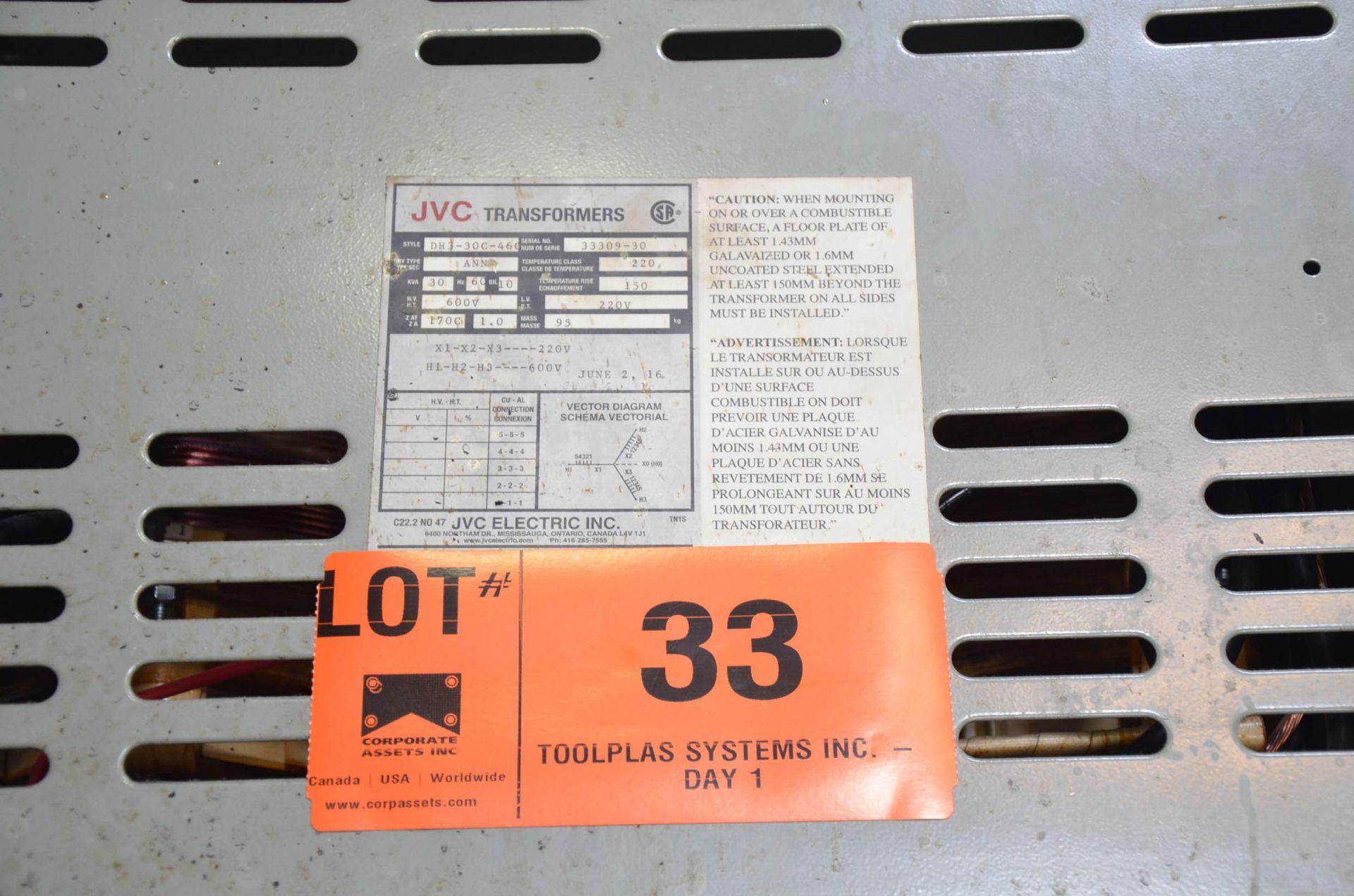 JVC 30KVA/600-220V/3PH/60HZ TRANSFORMER (CI) [RIGGING FEES FOR LOT #33 - $50 USD PLUS APPLICABLE - Image 2 of 2