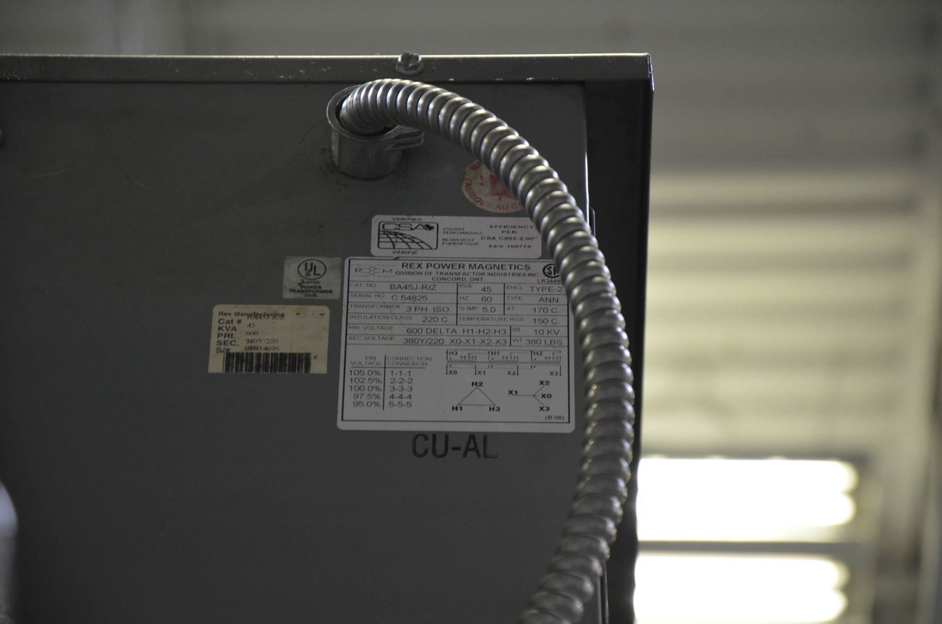 REX 45KVA/600-380-220V/3PH/60HZ TRANSFORMER (CI) [RIGGING FEES FOR LOT #205 - $50 USD PLUS - Image 2 of 2