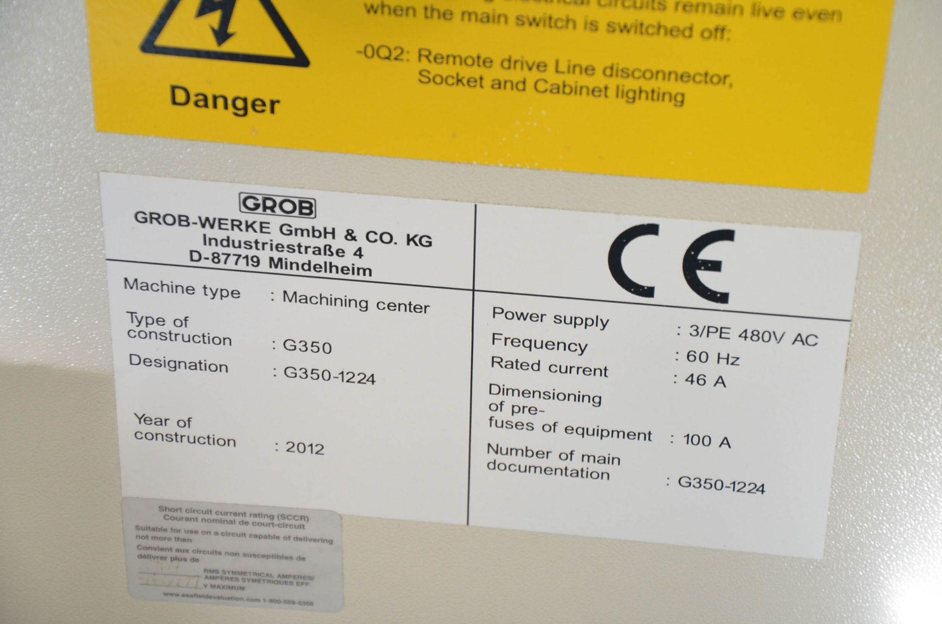 "GROB (2012) G350 5-AXIS CNC MACHINING CENTER WITH HEIDENHAIN ITNC 530 CNC CONTROL, 22.25"" DIAMETER - Image 4 of 12"
