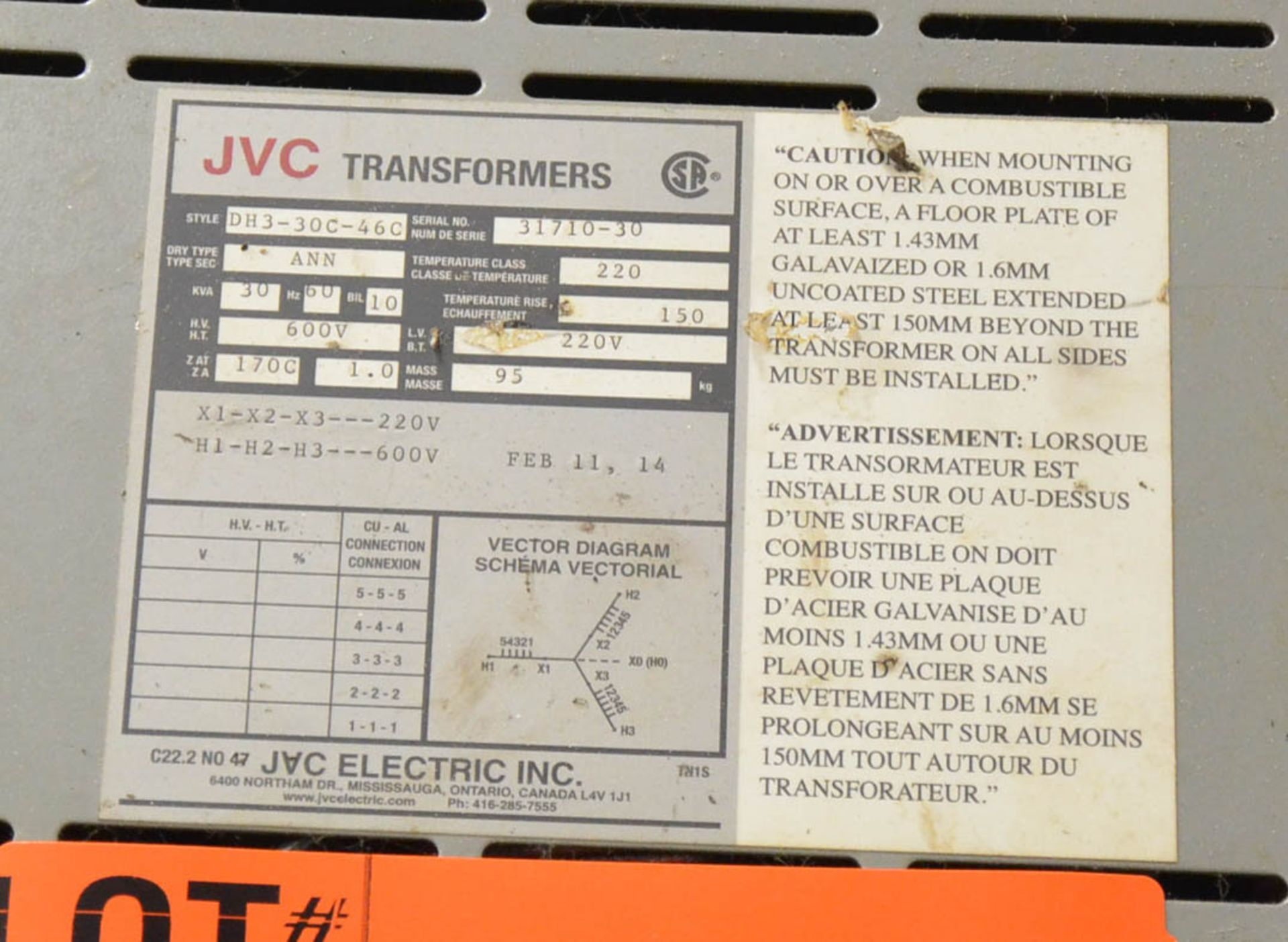 JVC 30KVA/600-220V/3PH/60HZ TRANSFORMER (CI) [RIGGING FEES FOR LOT #39 - $50 USD PLUS APPLICABLE - Image 2 of 2