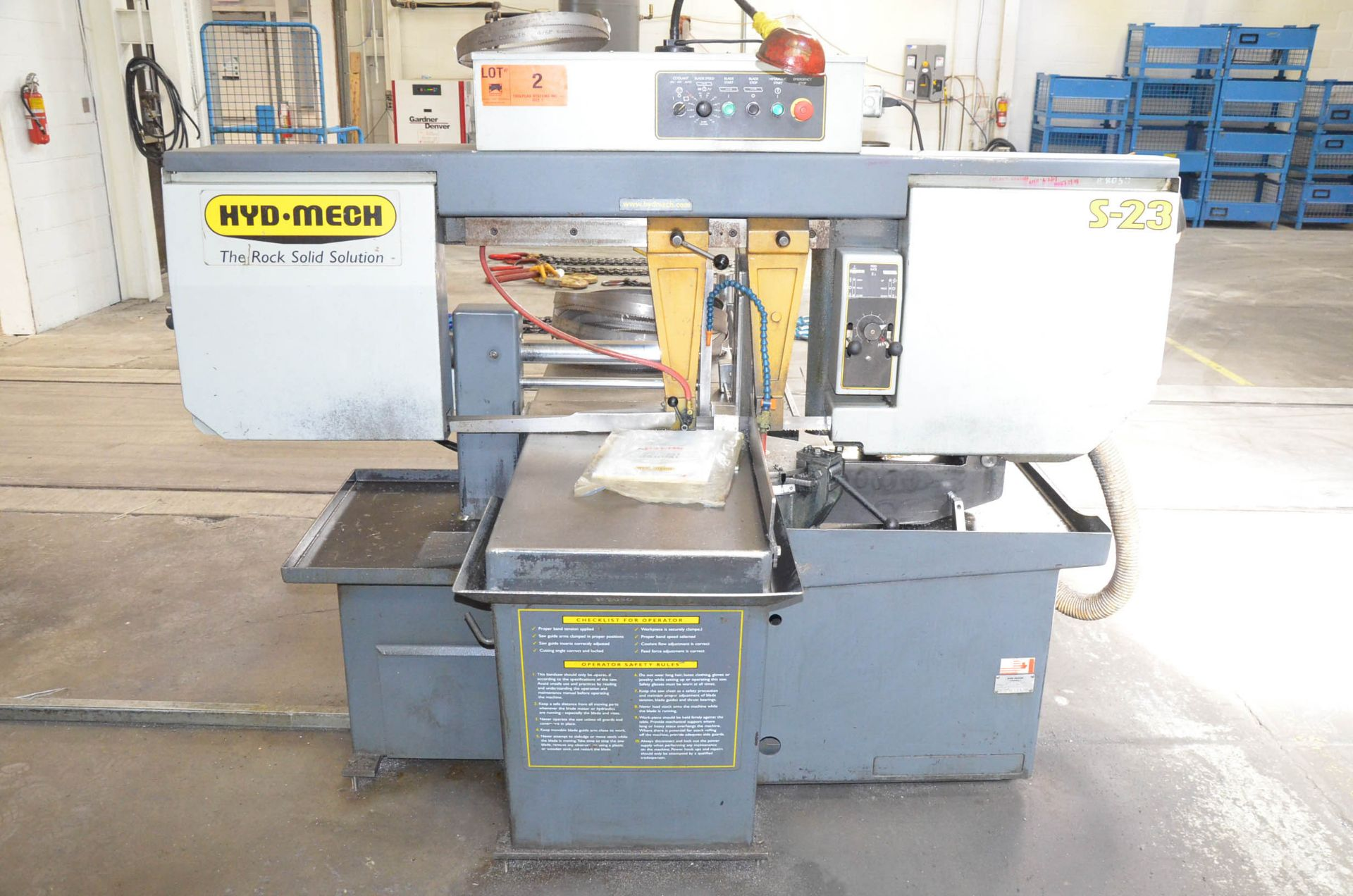 """HYD-MECH S-23 HORIZONTAL BAND SAW WITH 20"""" CAPACITY, HYDRAULIC VISE, COOLANT, CHIP AUGER, 600V/3PH/ - Image 7 of 8"""