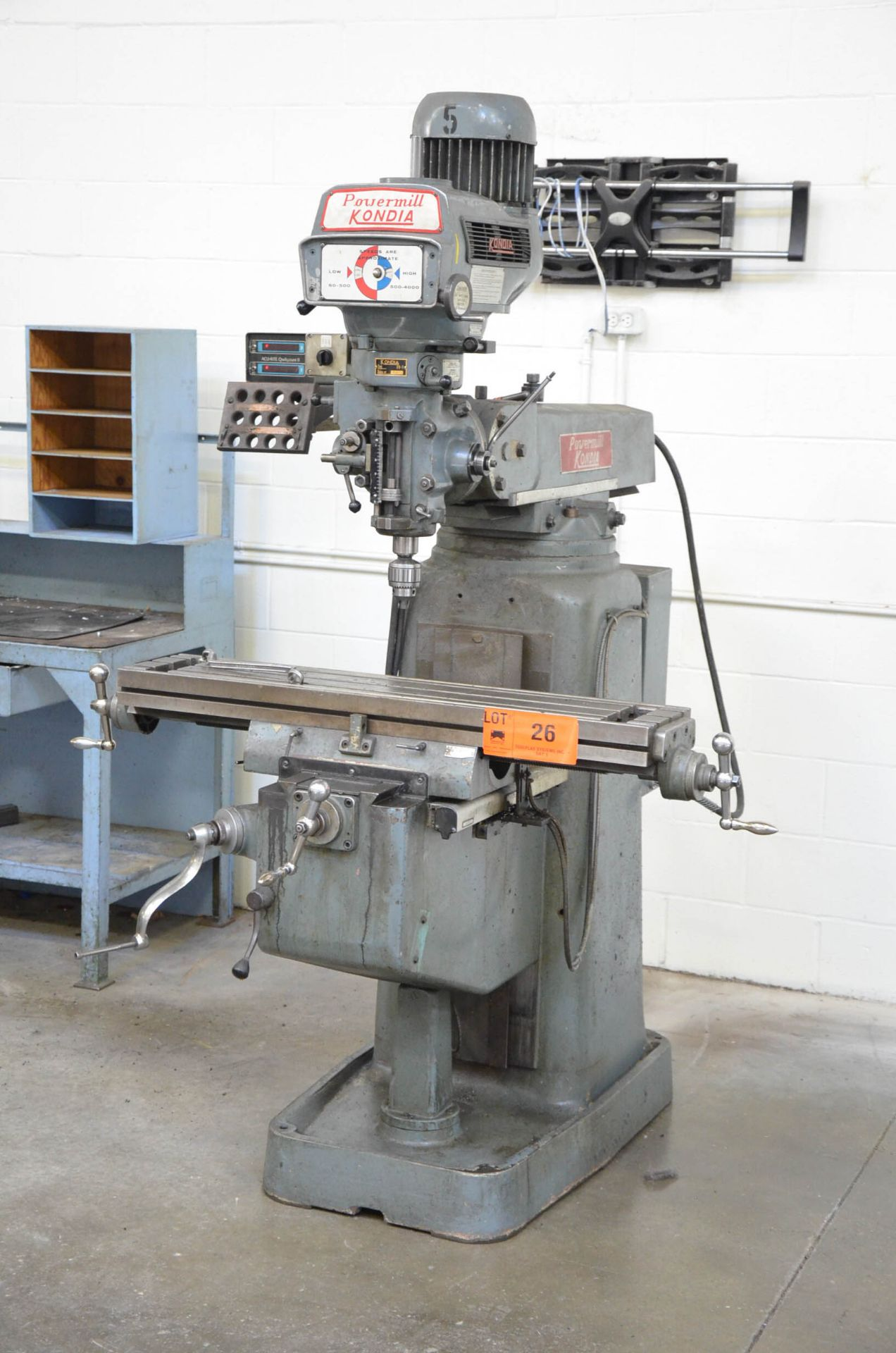 """KONDIA POWERMILL TYPE FV-1 VERTICAL TURRET MILLING MACHINE WITH 9""""X42"""" TABLE, SPEEDS TO 4,000RPM, - Image 2 of 6"""