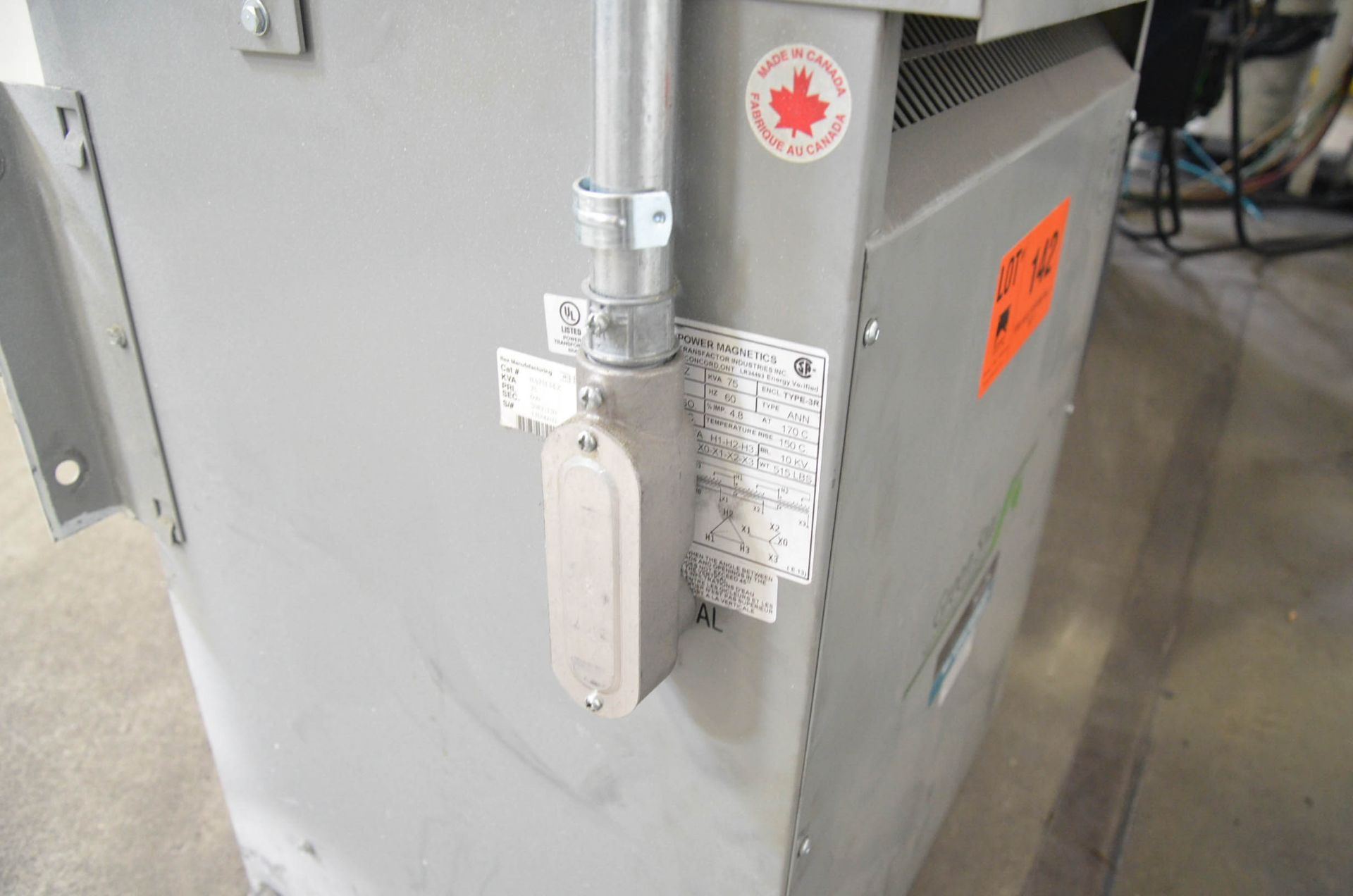 REX 75KVA/600-208V/3PH/60HZ TRANSFORMER (CI) [RIGGING FEES FOR LOT #142 - $50 USD PLUS APPLICABLE - Image 2 of 2