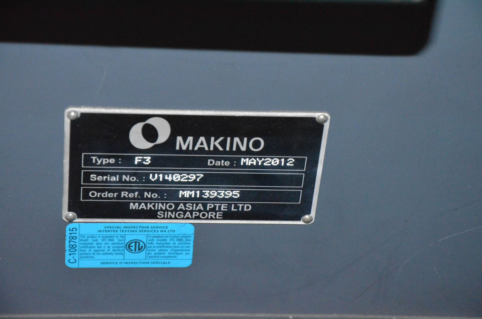 MAKINO (2012) F3 CNC VERTICAL MACHINING CENTER WITH MAKINO PROFESSIONAL 5 TOUCHSCREEN CNC CONTROL, - Image 7 of 9