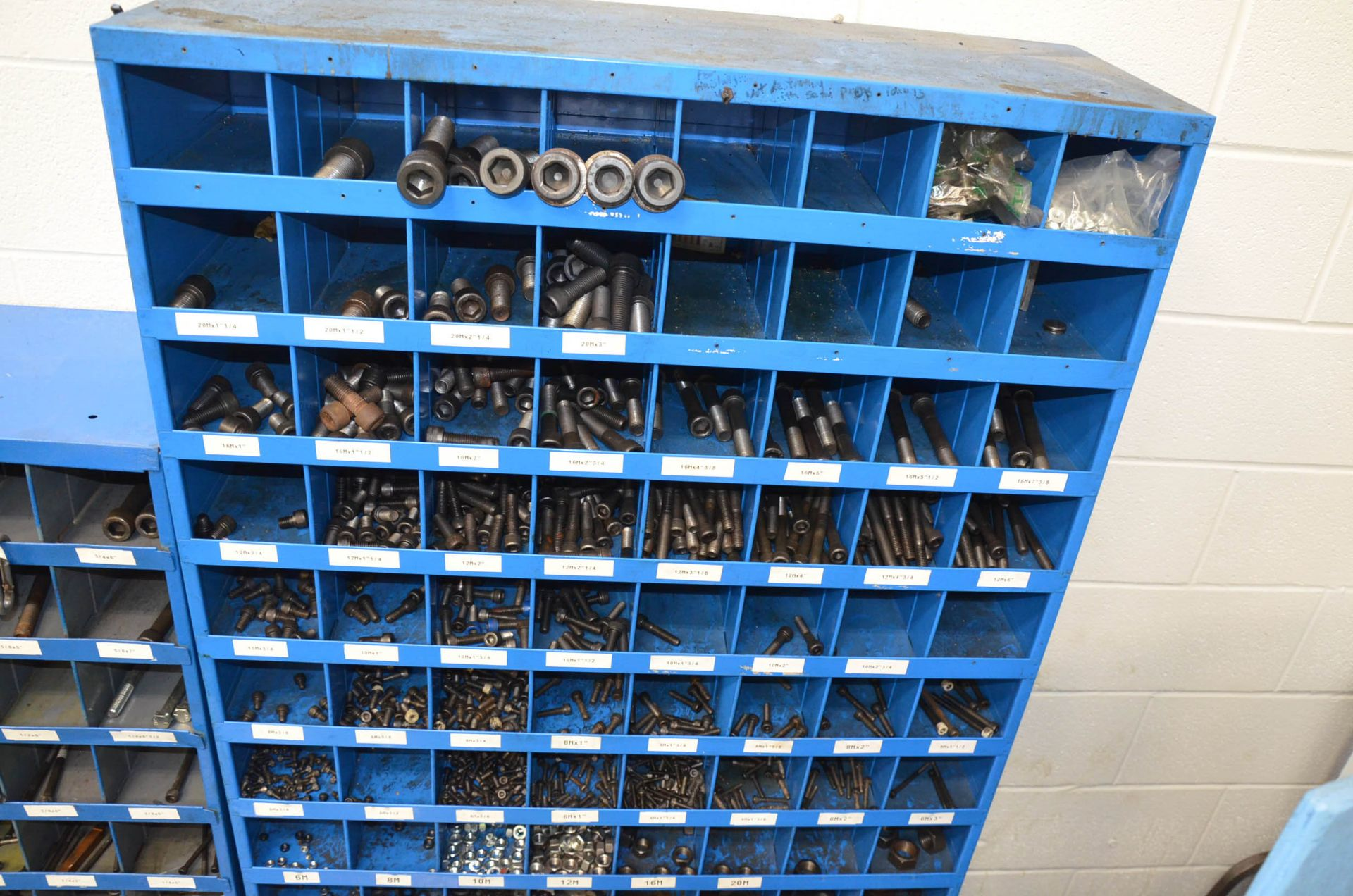 LOT/ FASTENAL PIGEON HOLE INDEX CABINETS WITH FASTENING HARDWARE AND STEEL WORK BENCH - Image 3 of 4