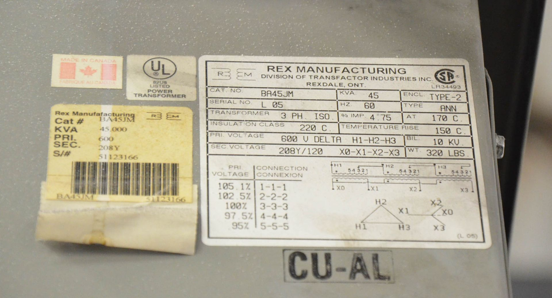 REX 45KVA/600-208-120V/3PH/60HZ TRANSFORMER (CI) [RIGGING FEES FOR LOT #65 - $50 USD PLUS APPLICABLE - Image 2 of 2