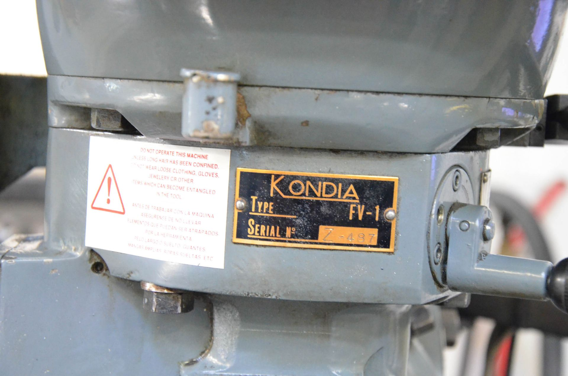 """KONDIA POWERMILL TYPE FV-1 VERTICAL TURRET MILLING MACHINE WITH 9""""X42"""" TABLE, SPEEDS TO 4,000RPM, - Image 3 of 6"""