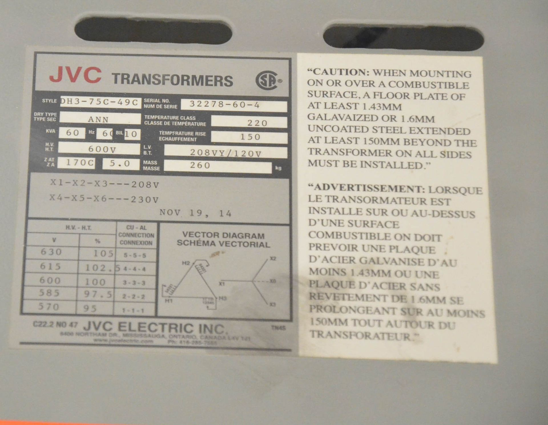 JVC 60KVA/600-208-120V/3PH/60HZ TRANSFORMER (CI) [RIGGING FEES FOR LOT #59 - $50 USD PLUS APPLICABLE - Image 2 of 2