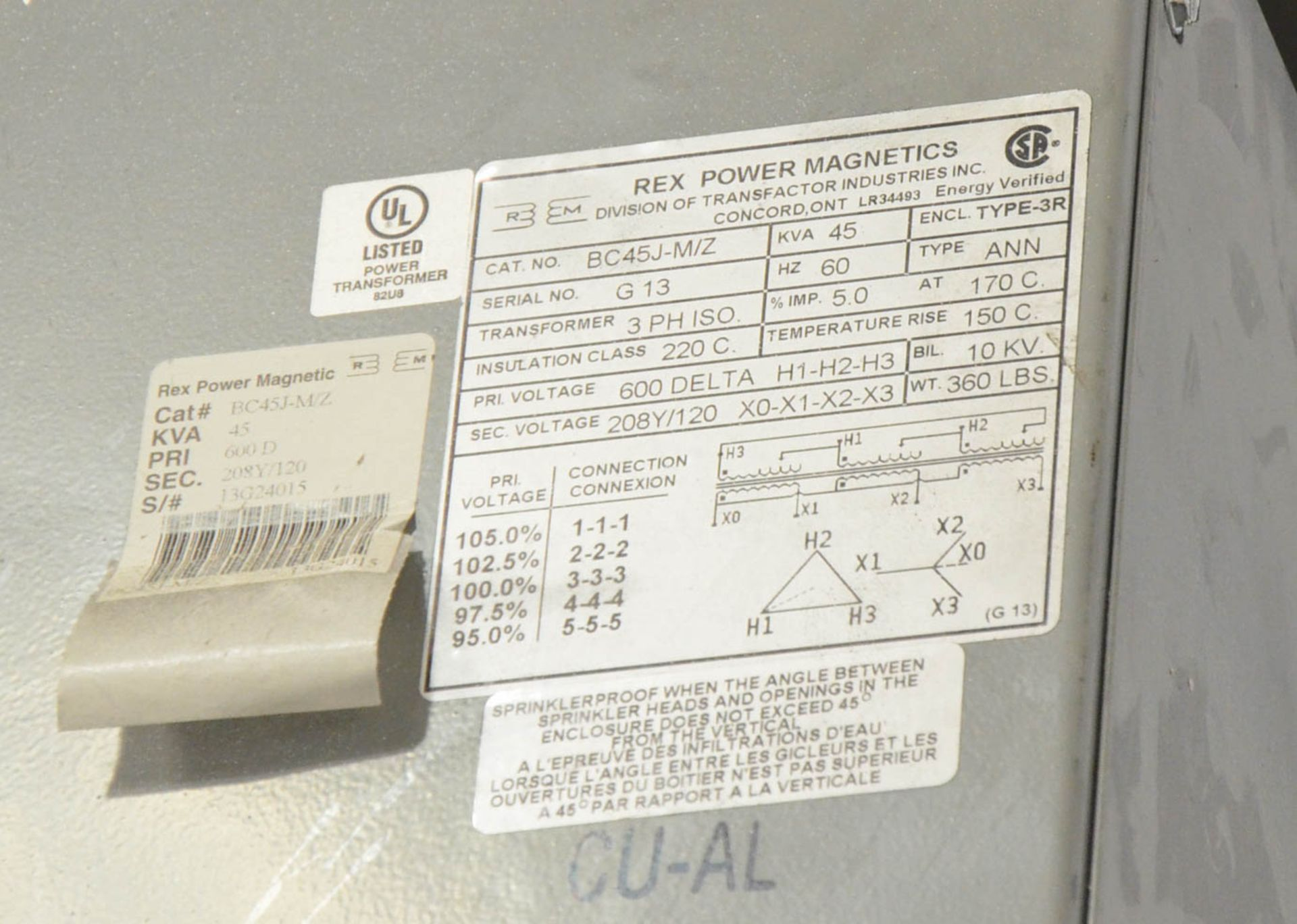 REX 45KVA/600-208-120V/3PH/60HZ TRANSFORMER (CI) [RIGGING FEES FOR LOT #62 - $50 USD PLUS APPLICABLE - Image 2 of 2