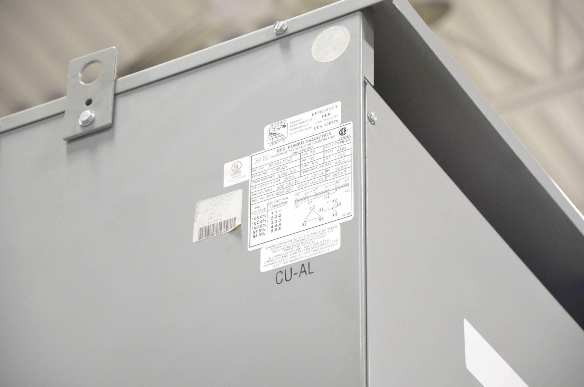 REX 45KVA/600-400-221V/3PH/60HZ TRANSFORMER (CI) [RIGGING FEES FOR LOT #343 - $50 USD PLUS - Image 2 of 2