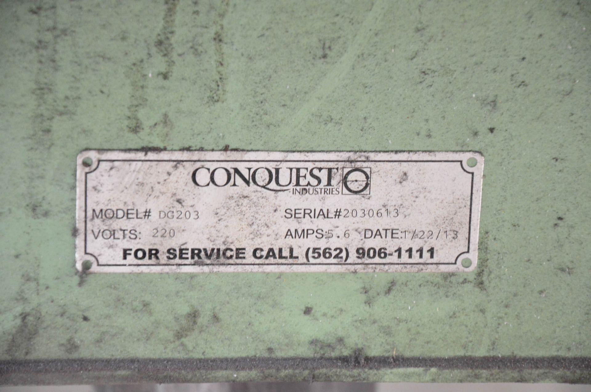 "CONQUEST (2013) DG203 20"" VERTICAL DISK SANDER WITH 15""X27"" TILTING TABLE, 220V/3PH/60HZ, S/N - Image 2 of 2"