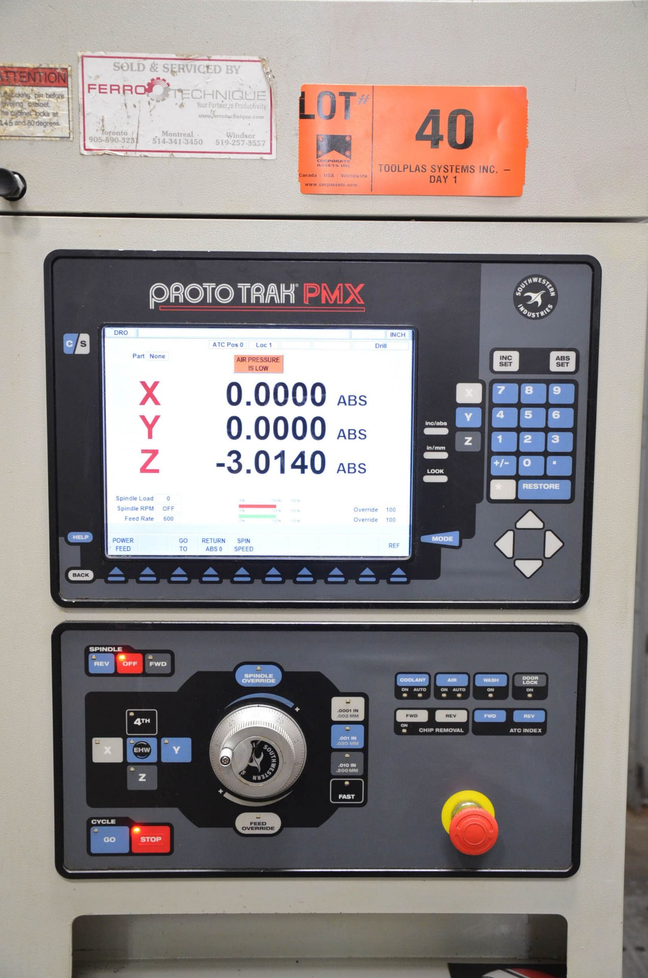 "SWI (2013) TRAK LPM CNC VERTICAL MACHINING CENTER WITH PROTO TRAK PMX CNC CONTROL, 19.5"" X 35.5"" - Image 9 of 9"