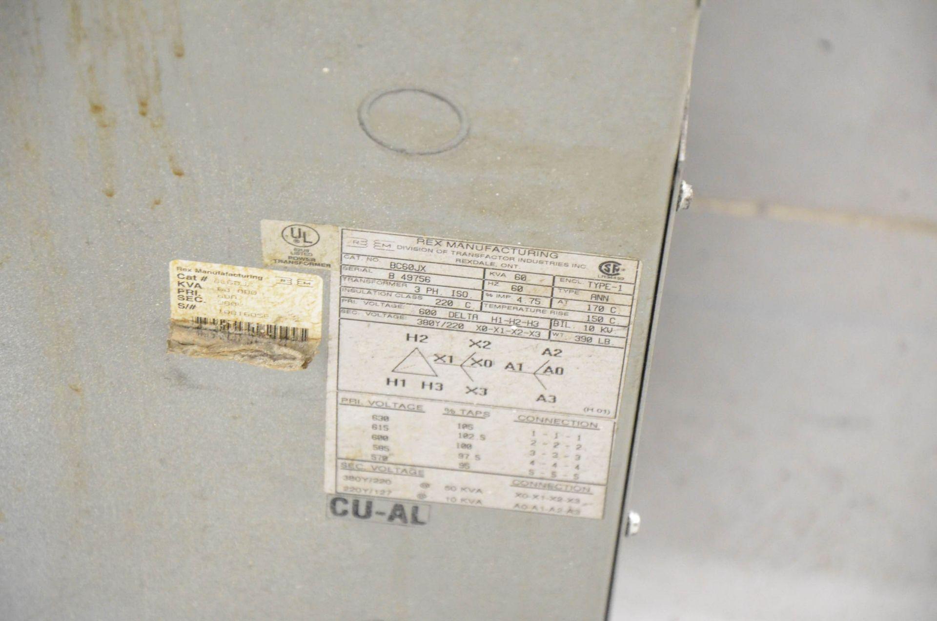 REX 60KVA/600-380-220V/3PH/60HZ TRANSFORMER (CI) [RIGGING FEES FOR LOT #415 - $50 USD PLUS - Image 2 of 2