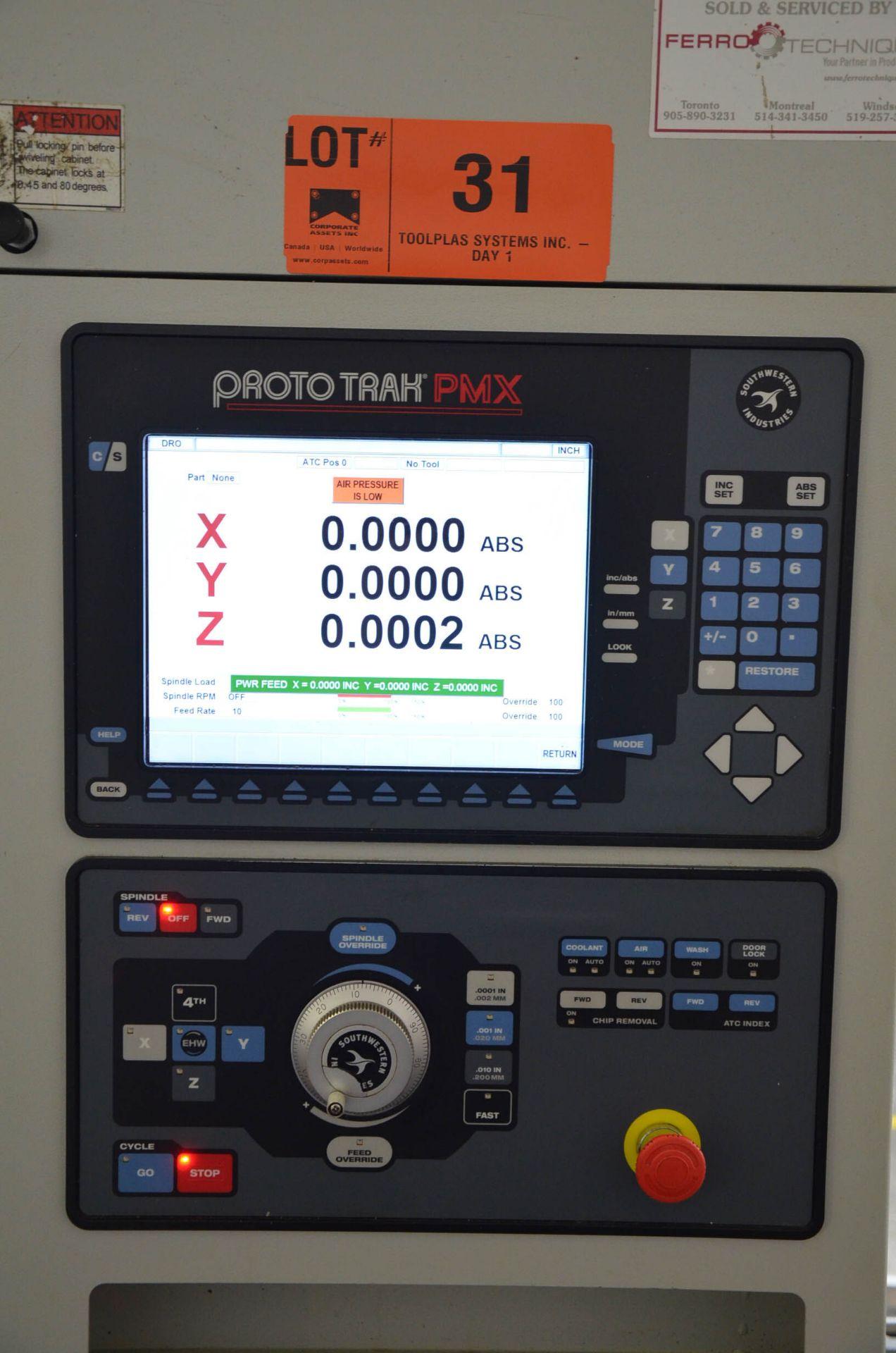 SWI (2014) TRAK LPM 4-AXIS READY CNC VERTICAL MACHINING CENTER WITH PROTO TRAK PMX CNC CONTROL, 19. - Image 6 of 12