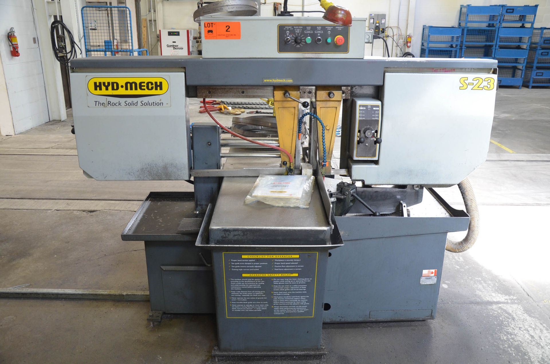 """HYD-MECH S-23 HORIZONTAL BAND SAW WITH 20"""" CAPACITY, HYDRAULIC VISE, COOLANT, CHIP AUGER, 600V/3PH/ - Image 6 of 8"""