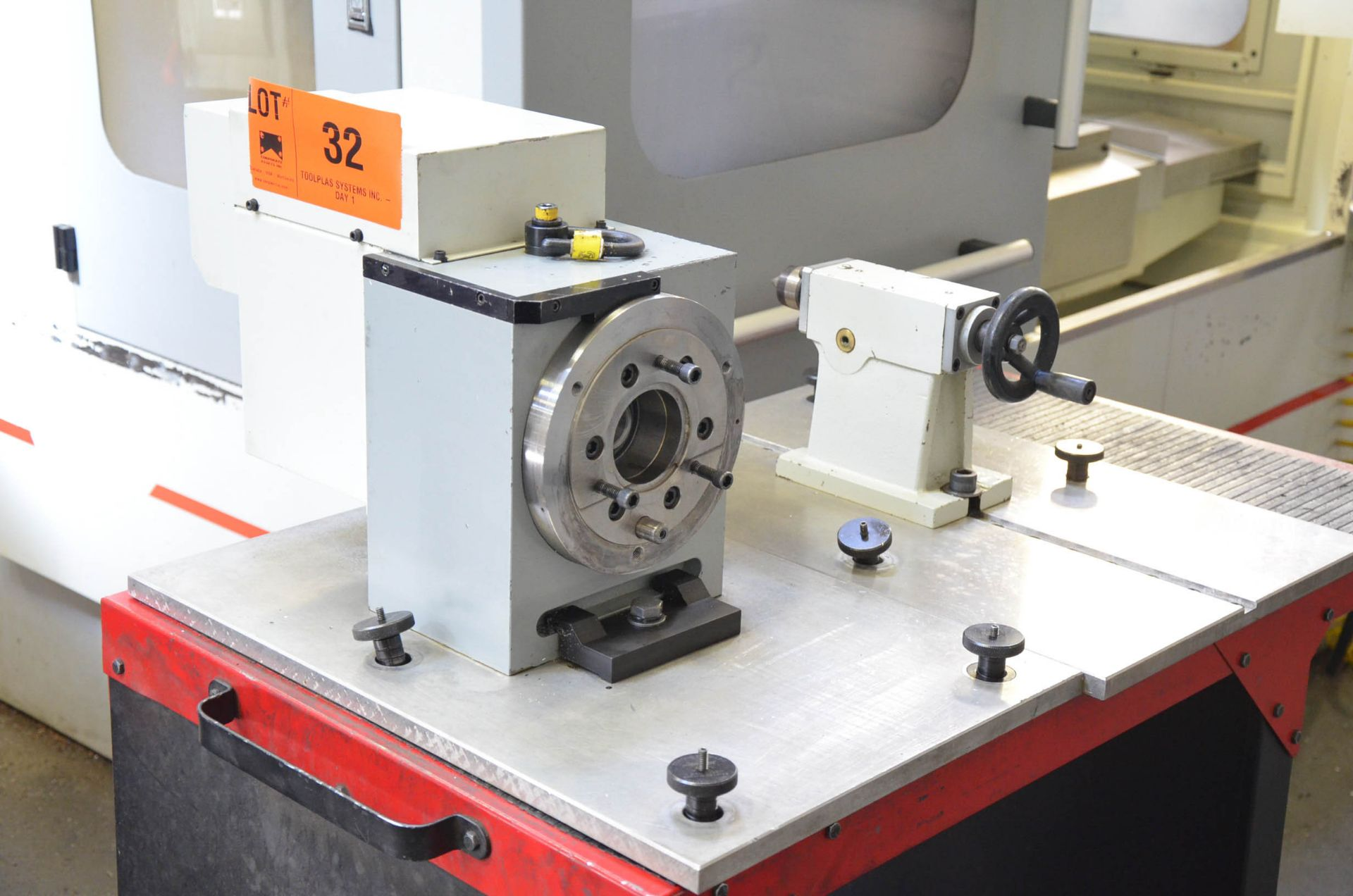 """SWI (2014) 28060 8"""" DIA. FOURTH AXIS ROTARY TABLE WITH TAIL STOCK, SOUTHWESTERN TOOL CART, S/N"""
