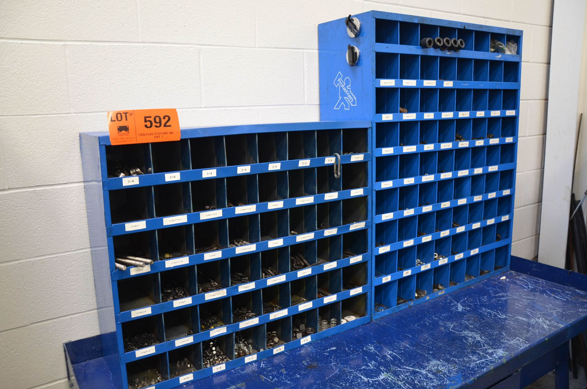 LOT/ FASTENAL PIGEON HOLE INDEX CABINETS WITH FASTENING HARDWARE AND STEEL WORK BENCH