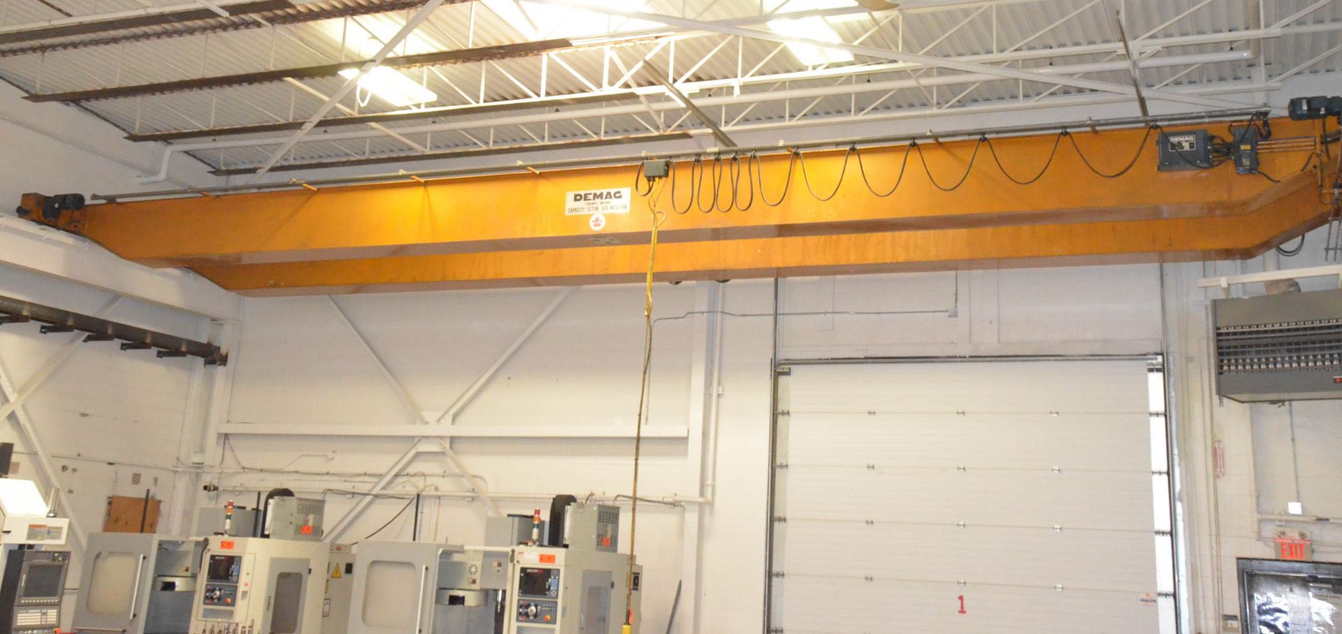 DEMAG 10TON CAPACITY DOUBLE GIRDER TOP-RUNNING OVERHEAD BRIDGE WITH APPROX. 47' SPAN, 20' HEIGHT (