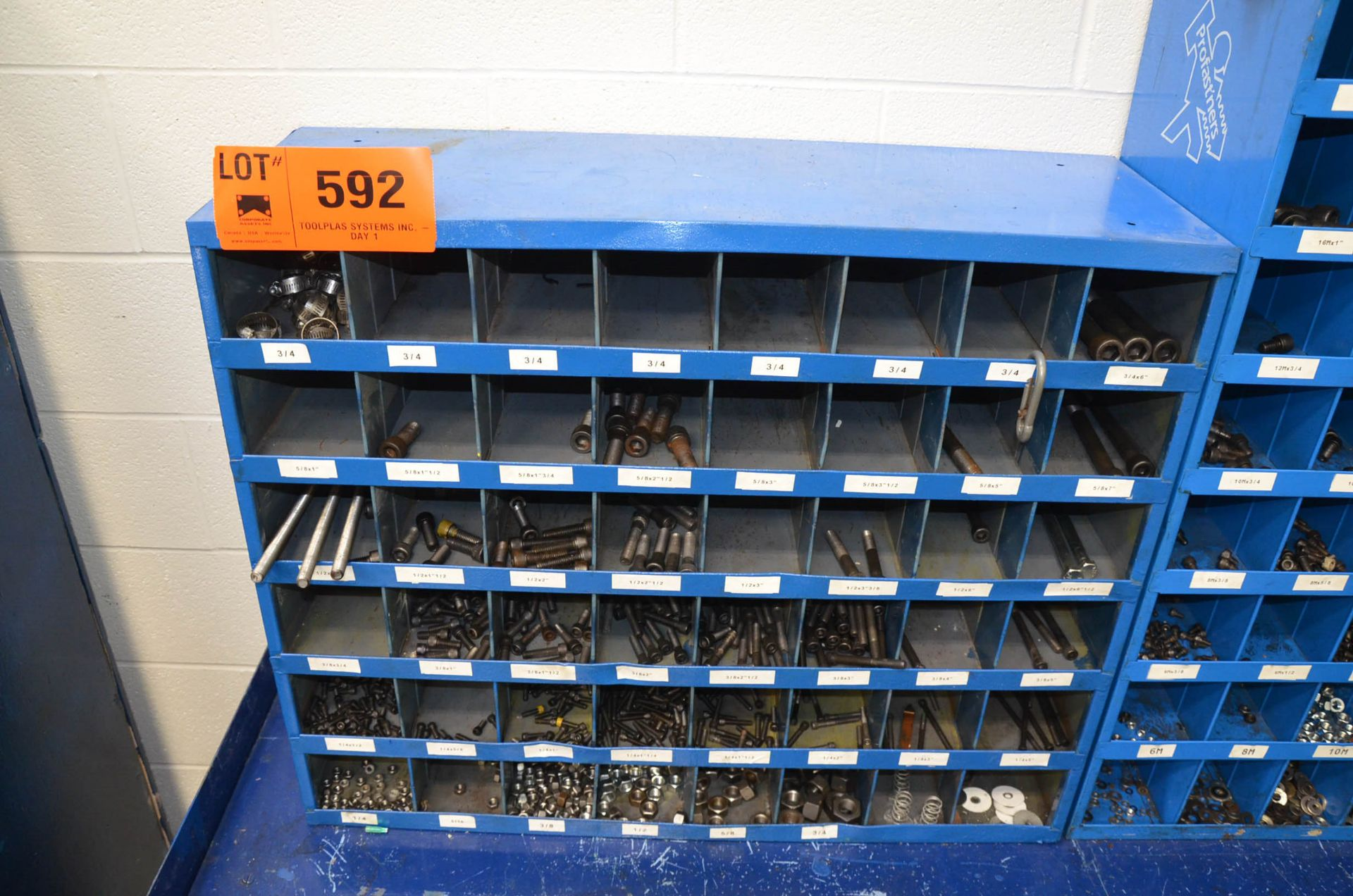 LOT/ FASTENAL PIGEON HOLE INDEX CABINETS WITH FASTENING HARDWARE AND STEEL WORK BENCH - Image 2 of 4