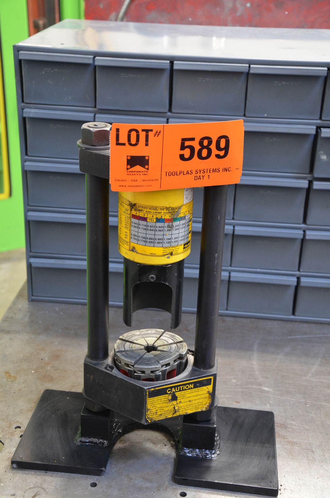 PARKER BENCH TYPE HYDRAULIC HOSE CRIMPER, S/N N/A