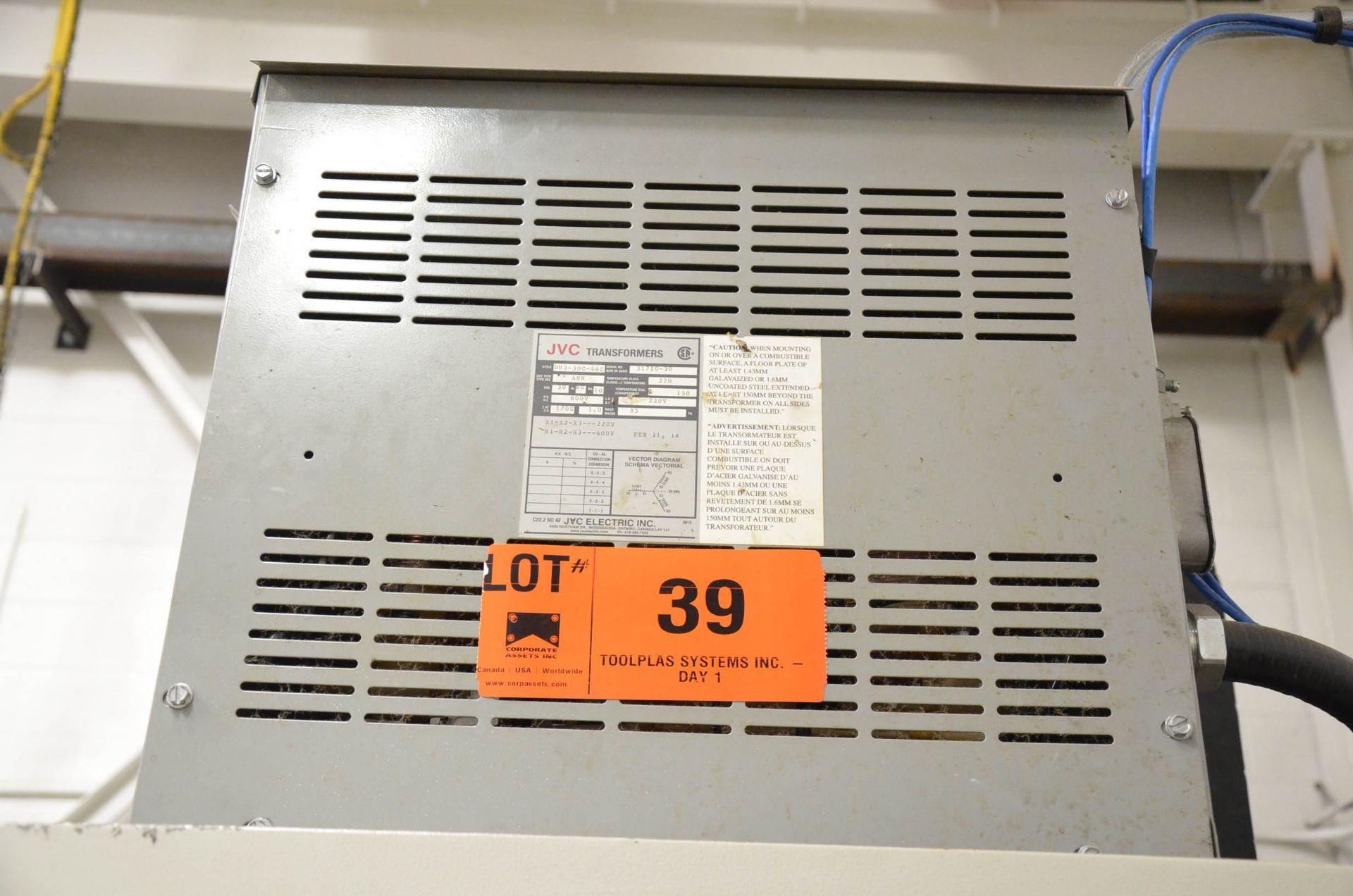 JVC 30KVA/600-220V/3PH/60HZ TRANSFORMER (CI) [RIGGING FEES FOR LOT #39 - $50 USD PLUS APPLICABLE