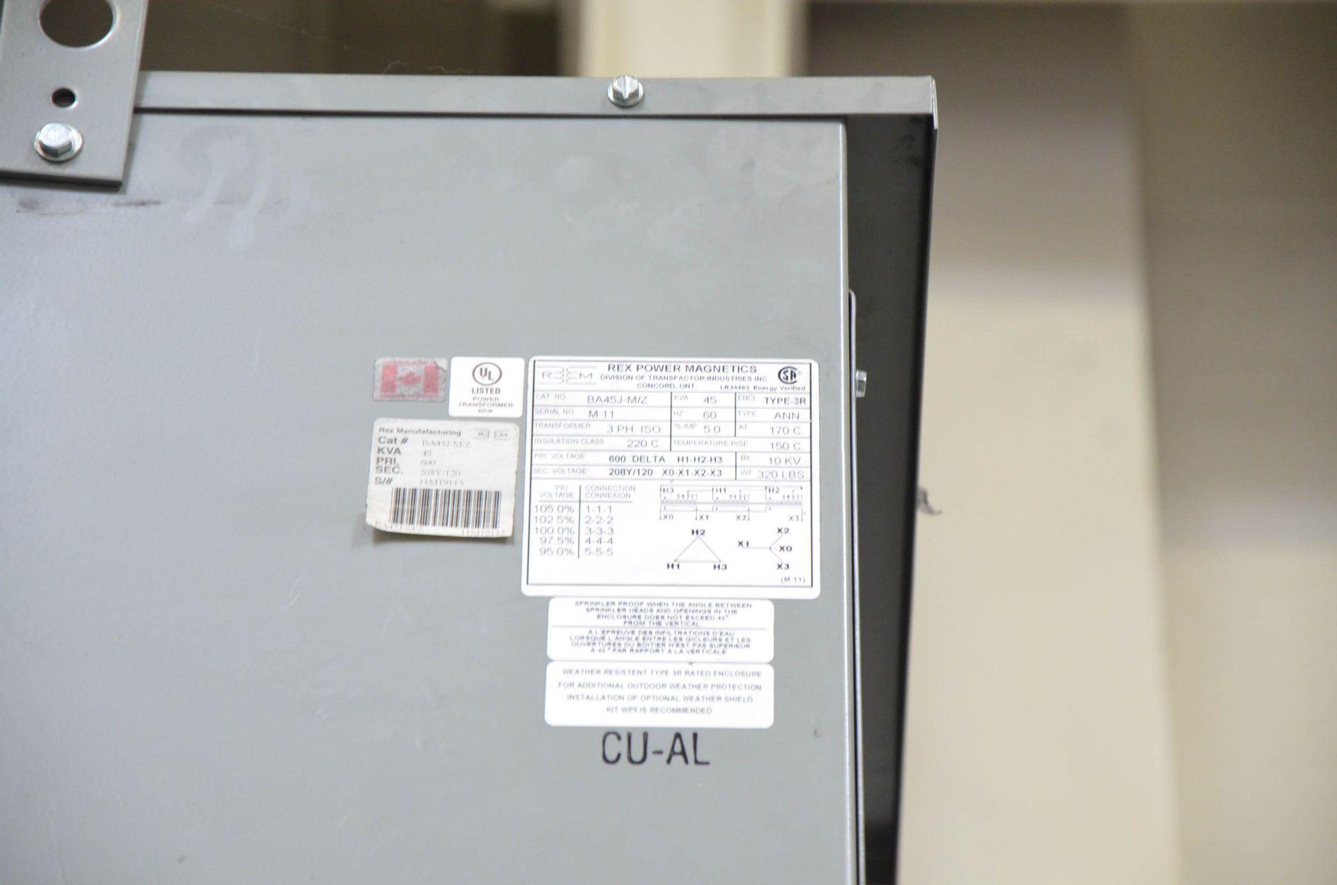 REX 45KVA/600-208-120V/3PH/60HZ TRANSFORMER (CI) [RIGGING FEES FOR LOT #138 - $50 USD PLUS - Image 2 of 2