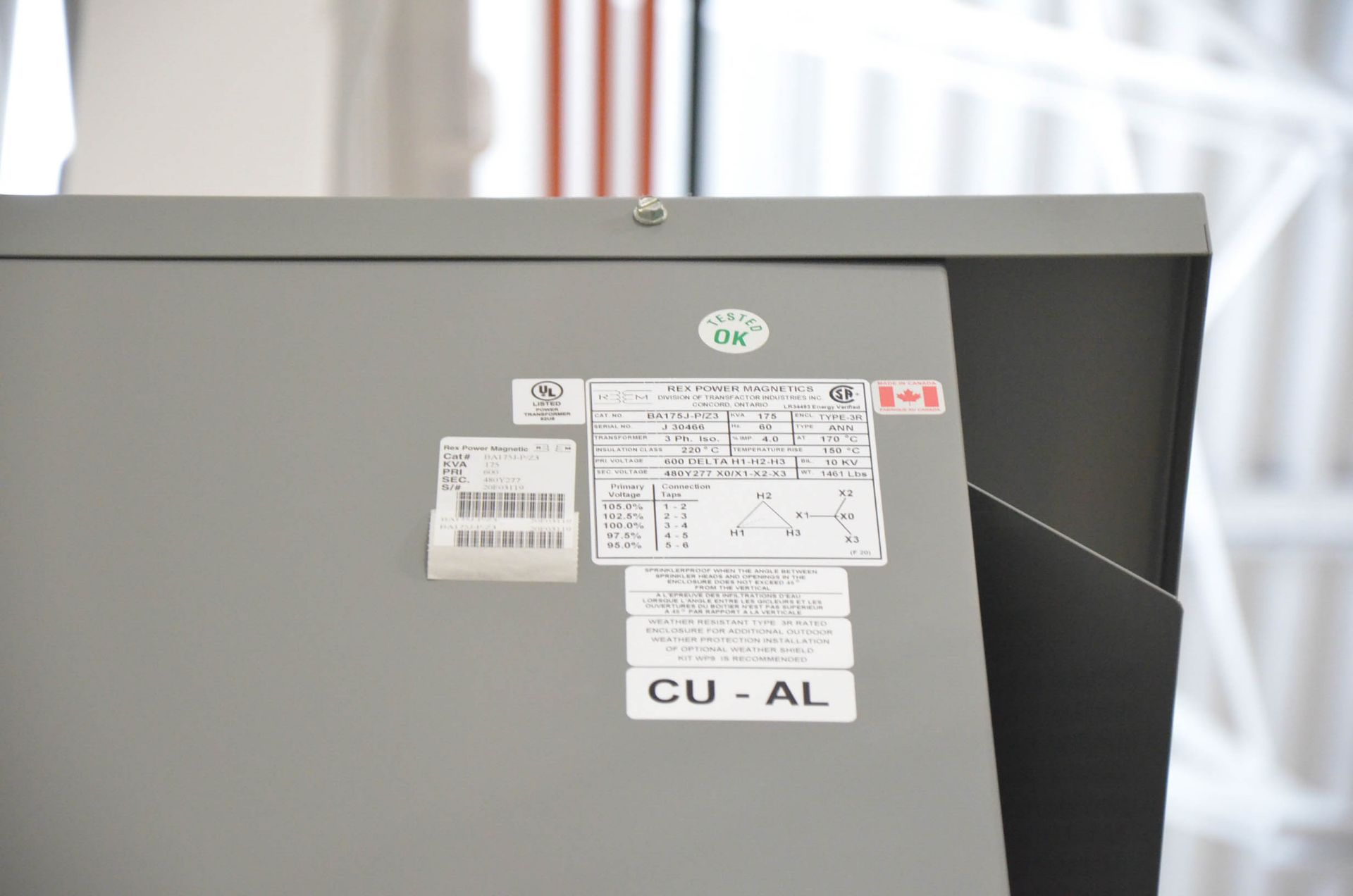 REX 175KVA/600-480V/3PH/60HZ TRANSFORMER (CI) [RIGGING FEES FOR LOT #153 - $50 USD PLUS APPLICABLE - Image 2 of 2