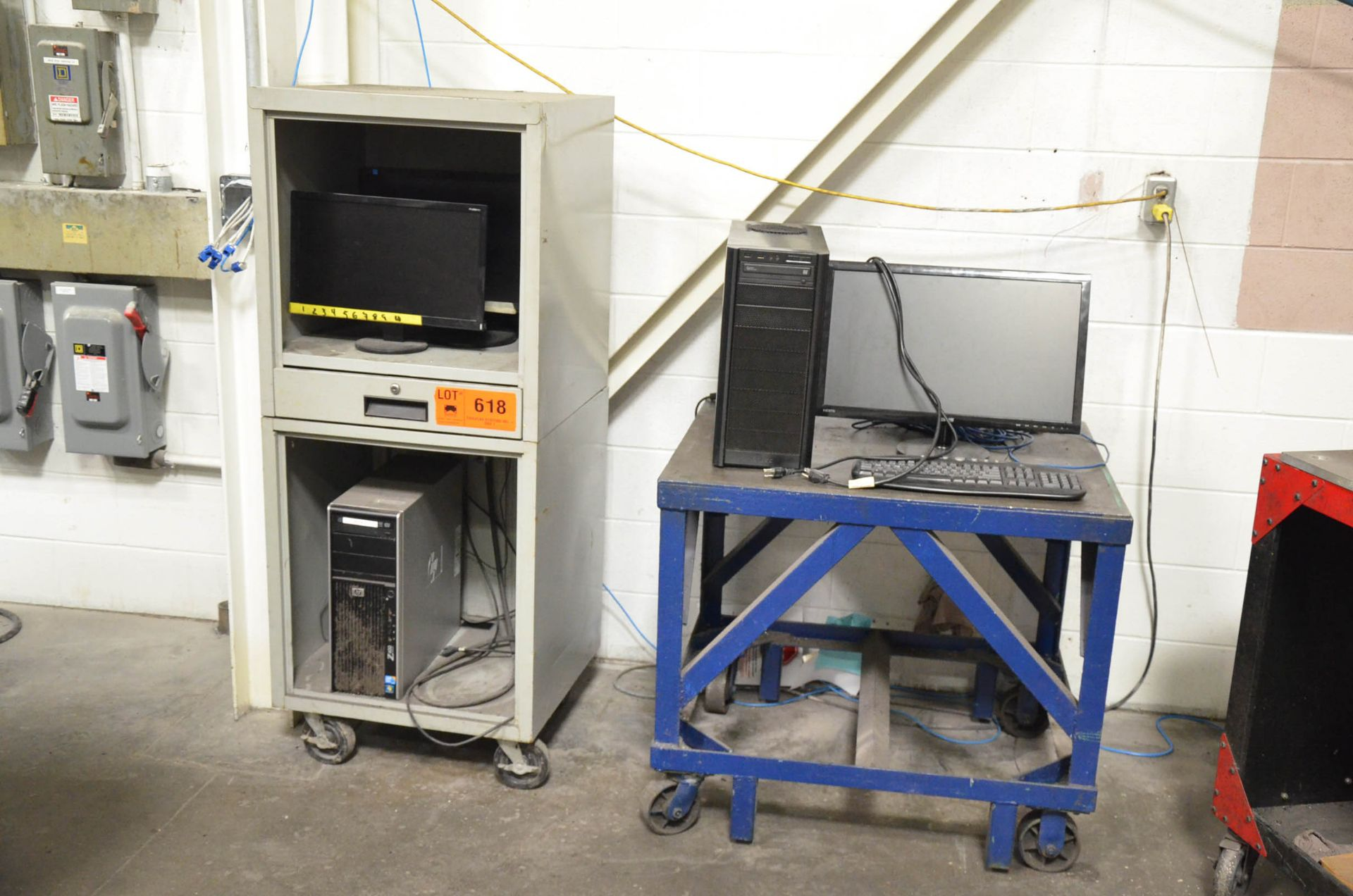 LOT/ COMPUTER CABINET WITH MONITORS AND ACCESSORIES (PC NOT INCLUDED)
