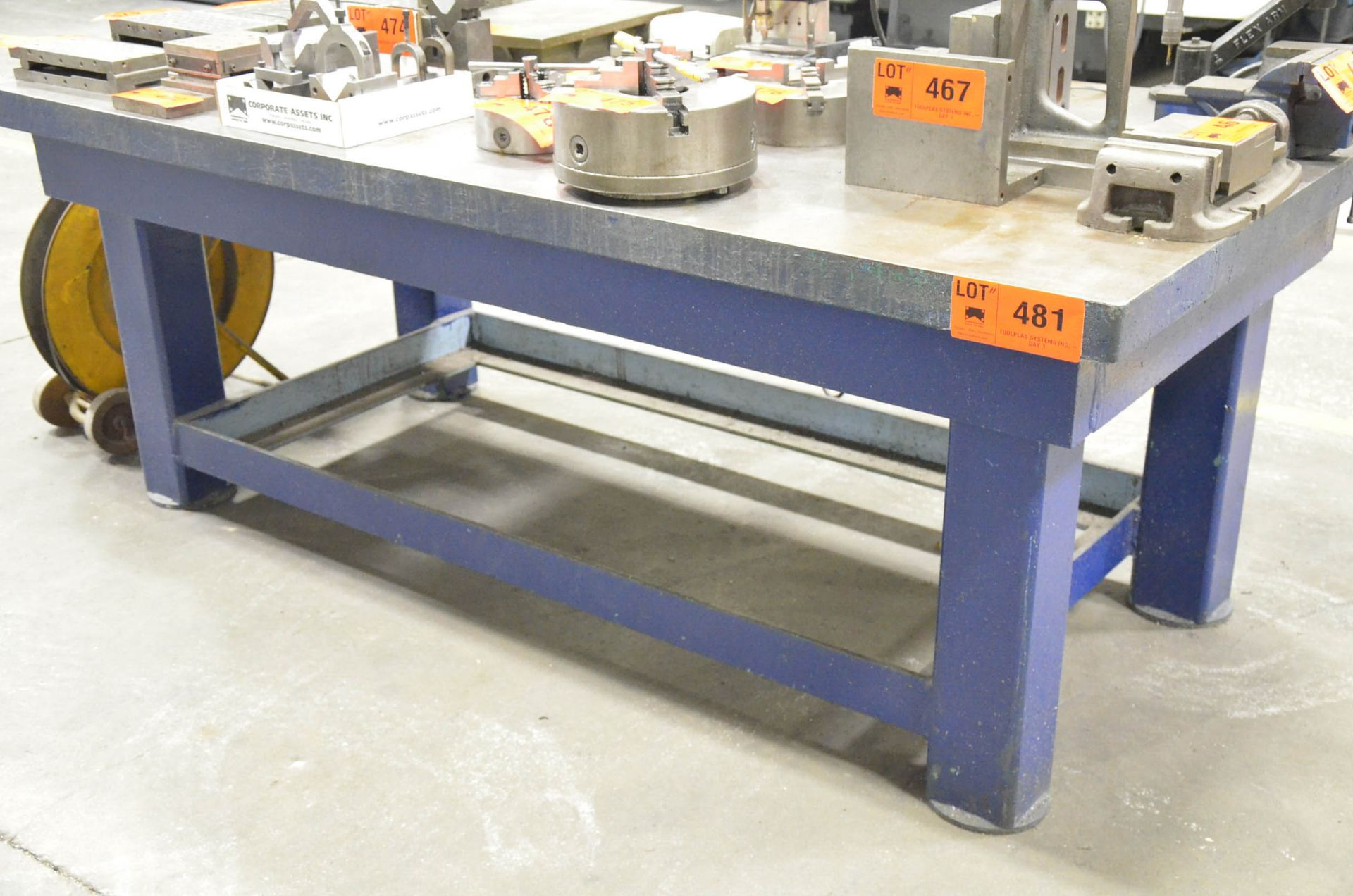 """96"""" x 48"""" x 3"""" STEEL LAYOUT TABLE (CI) [RIGGING FEES FOR LOT #481 - $25 USD PLUS APPLICABLE TAXES]"""