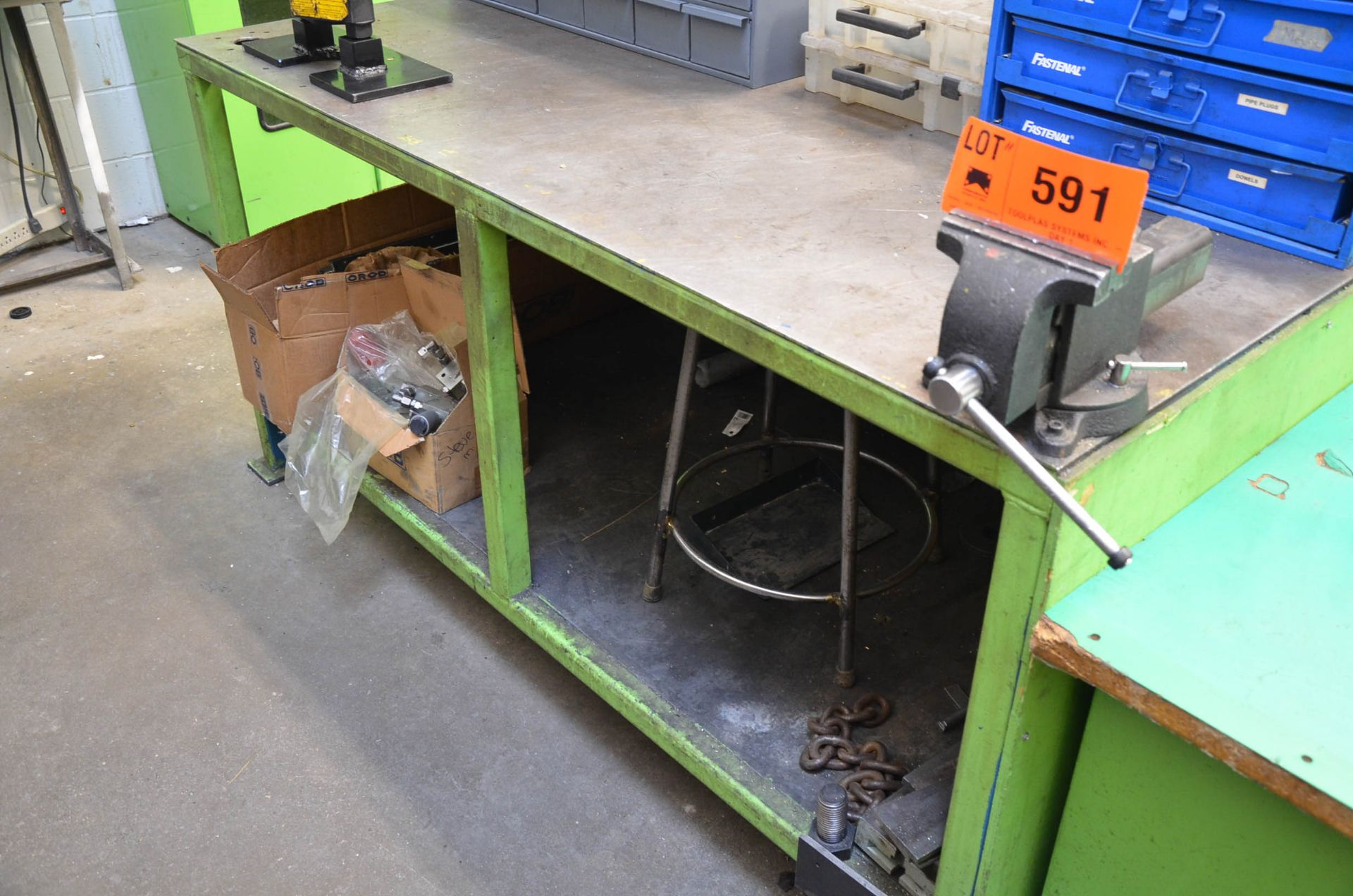"""LOT/ STEEL WORK BENCH WITH 6"""" VISE"""