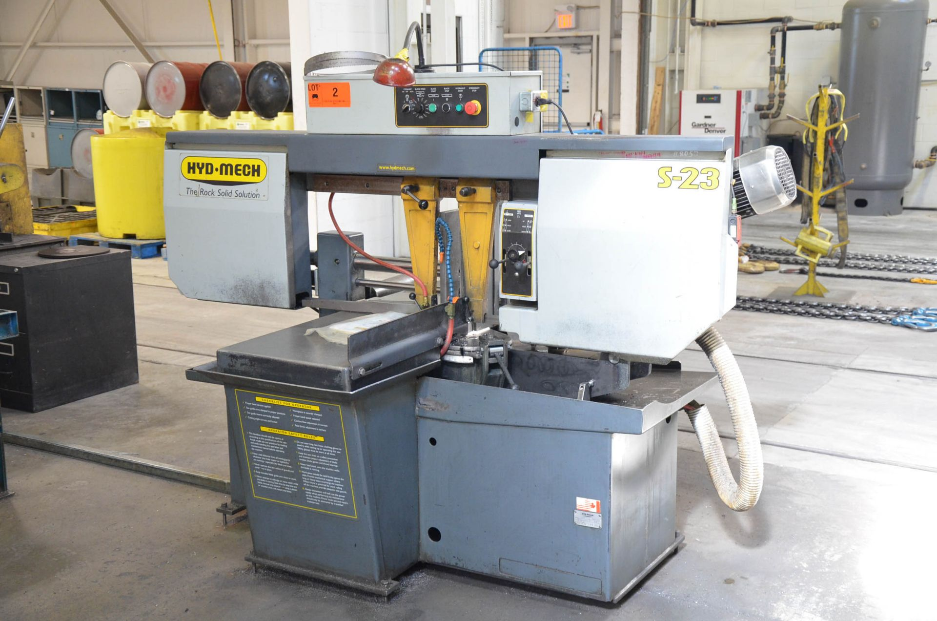 """HYD-MECH S-23 HORIZONTAL BAND SAW WITH 20"""" CAPACITY, HYDRAULIC VISE, COOLANT, CHIP AUGER, 600V/3PH/ - Image 2 of 8"""