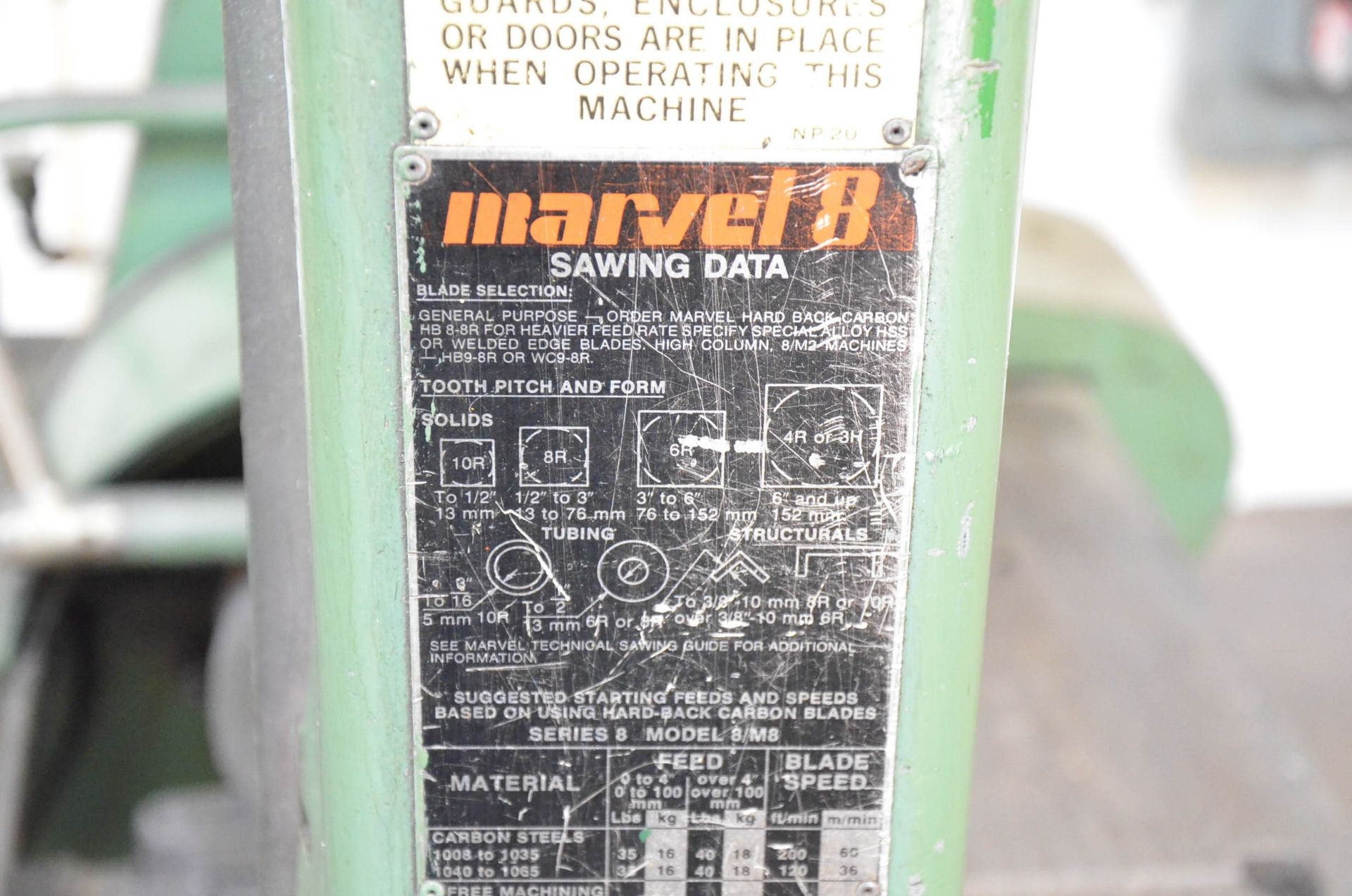 """MARVEL SERIES 8 TILTING HEAD SLIDING FRAME VERTICAL BAND SAW WITH 17"""" THROAT, 12"""" MAX WORKPIECE - Image 4 of 4"""