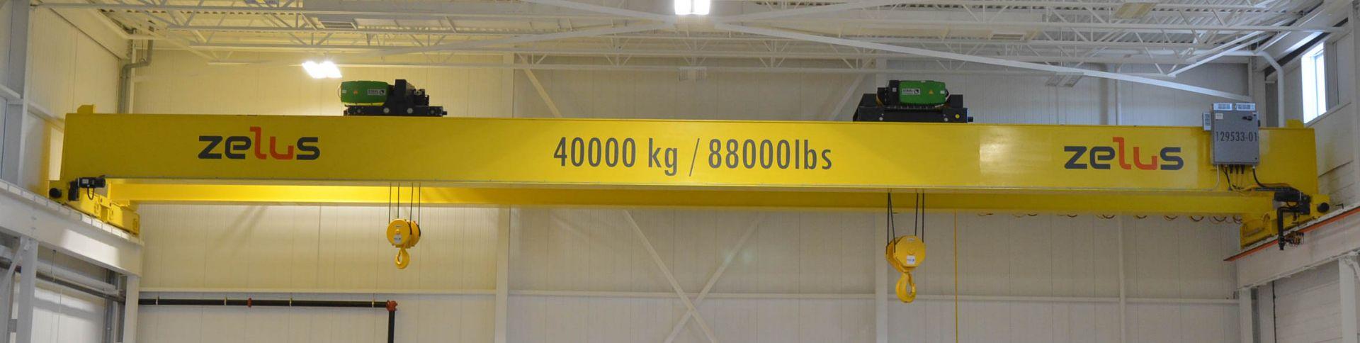 ZELUS (2020) 40TON CAPACITY DOUBLE GIRDER TOP-RUNNING OVERHEAD BRIDGE CRANE WITH APPROX. 68' SPAN,