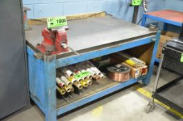 """36 """" x 60 """" x 1.75 """" STEEL WELDING PLATE WITH STAND AND 6 """" SWIVEL BENCH VISE"""
