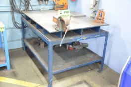 """42 """" x 68 """" x 6 """" STEEL LAYOUT PLATE WITH STAND AND 6 """" BENCH VISE"""