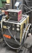 HOBART MEGA-FLEX 450-RVS MIG WELDER WITH THERMAL ARC 2410 WIRE FEEDER, CABLES & GUN, S/N: N/A